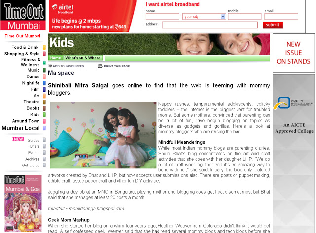 artsycraftsymom on Timeout mumbai